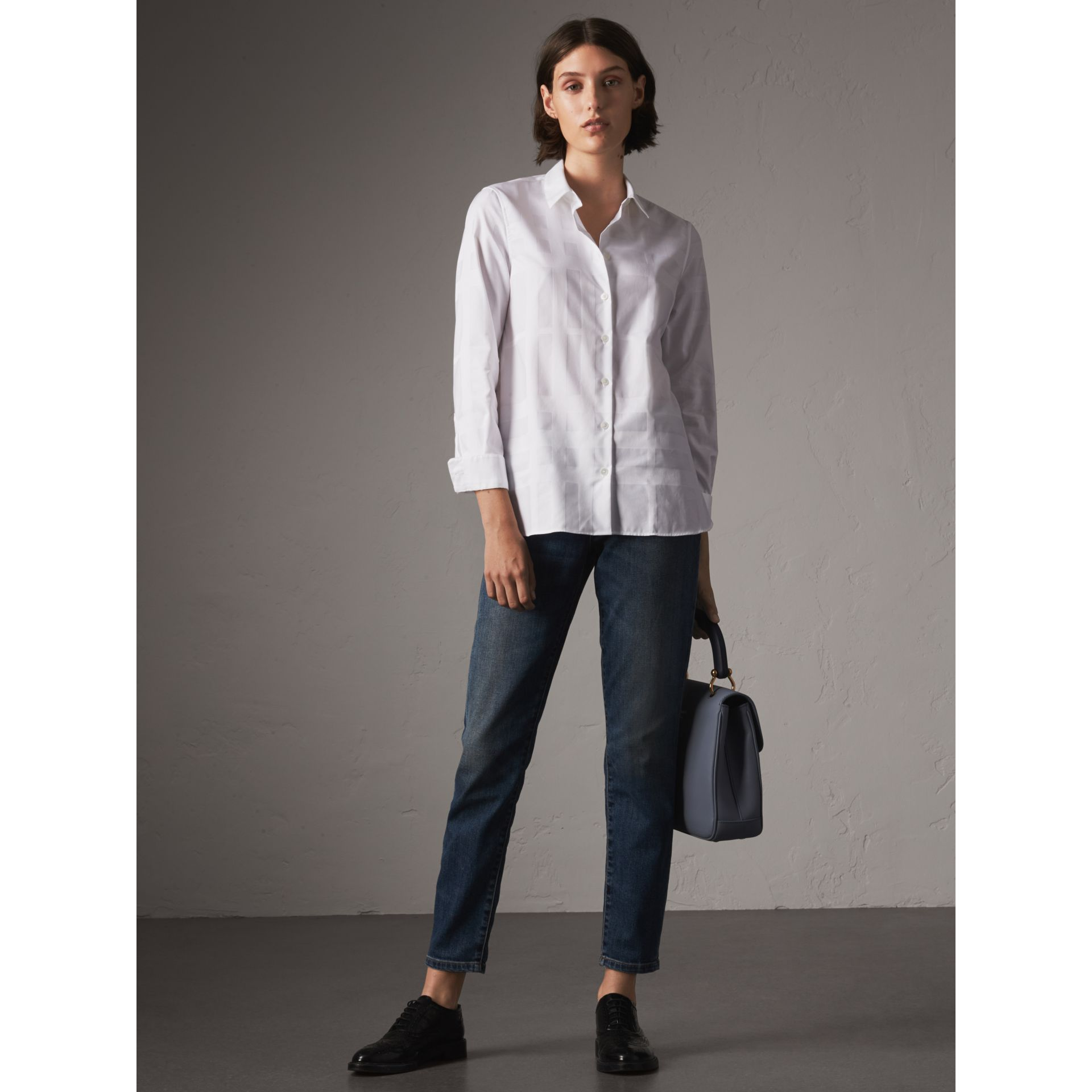 Check Jacquard Cotton Shirt in White - Women | Burberry Singapore - gallery image 1
