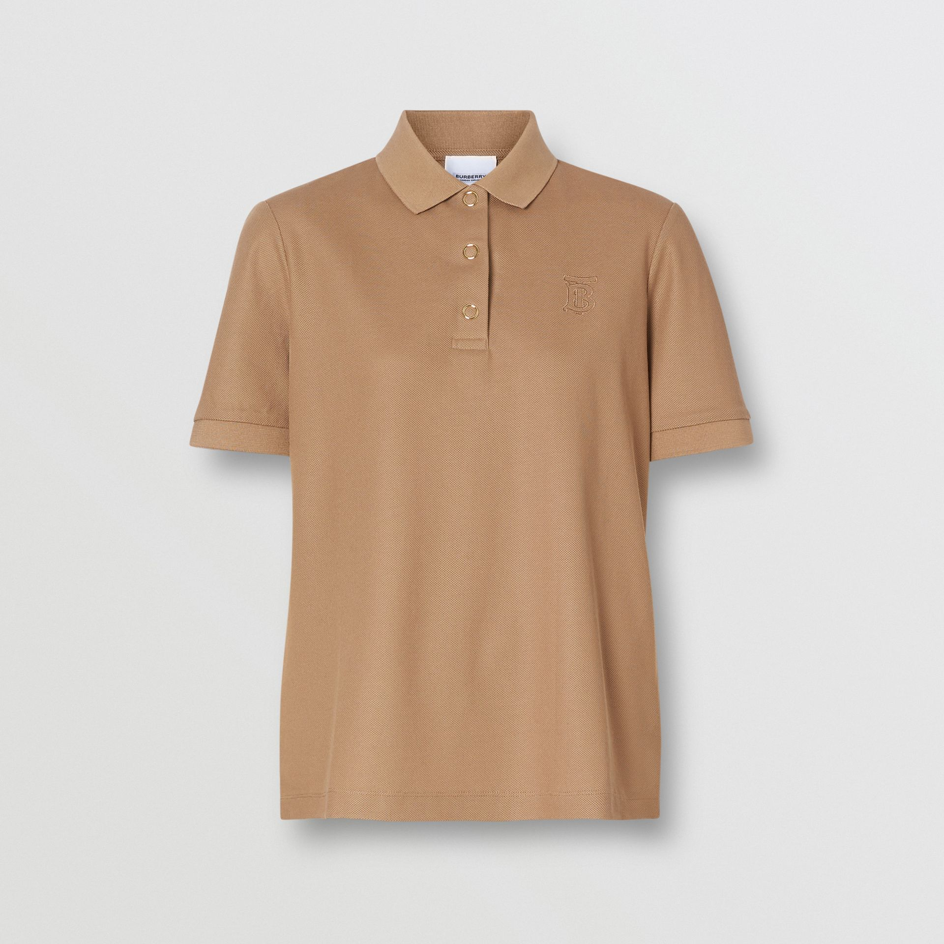 Monogram Motif Cotton Piqué Polo Shirt in Camel - Women | Burberry United Kingdom - gallery image 3