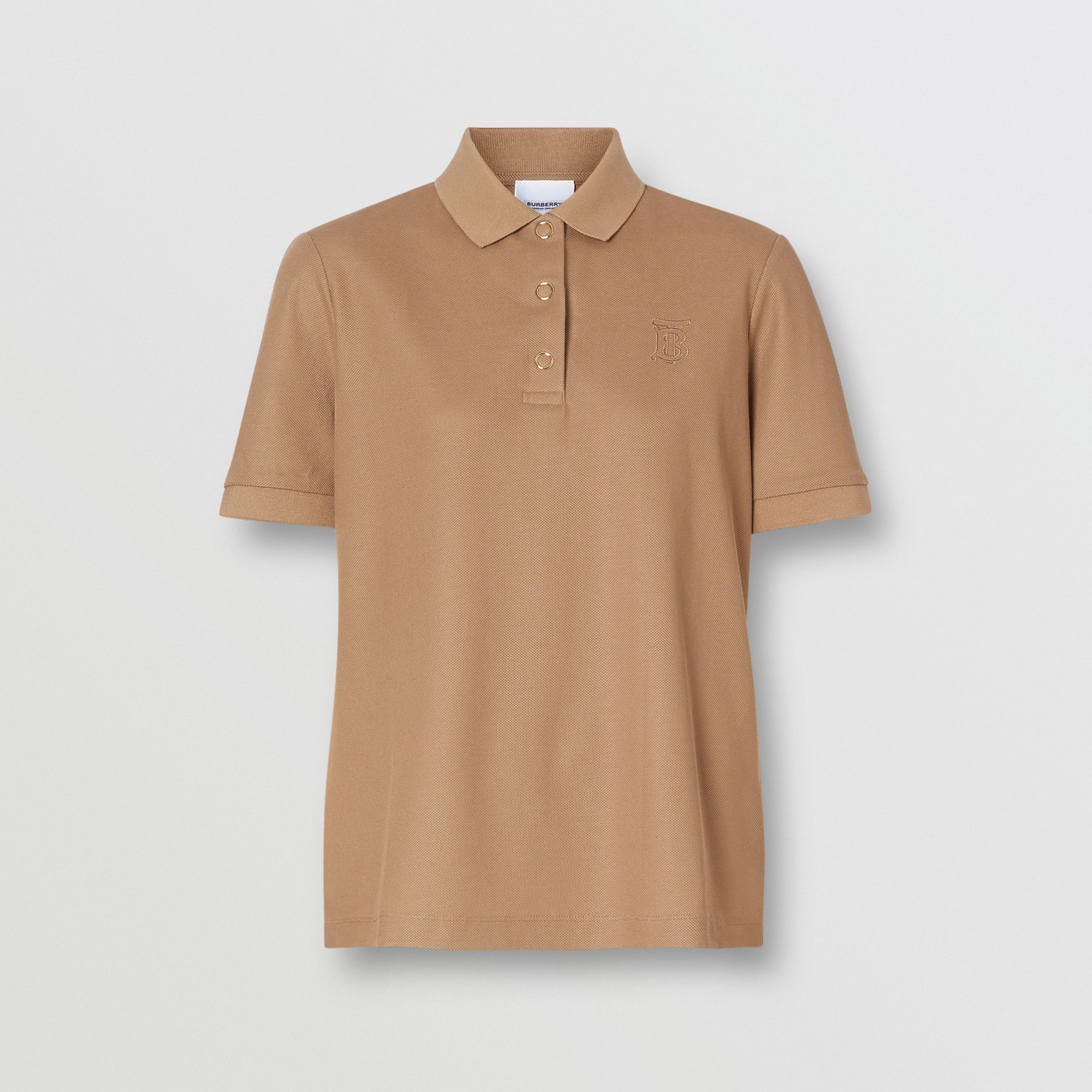 Monogram Motif Cotton Piqué Polo Shirt in Camel - Women | Burberry Singapore - 4