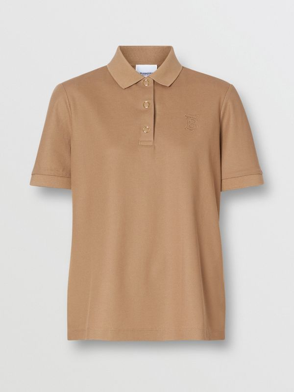 Monogram Motif Cotton Piqué Polo Shirt in Camel - Women | Burberry United Kingdom - cell image 3
