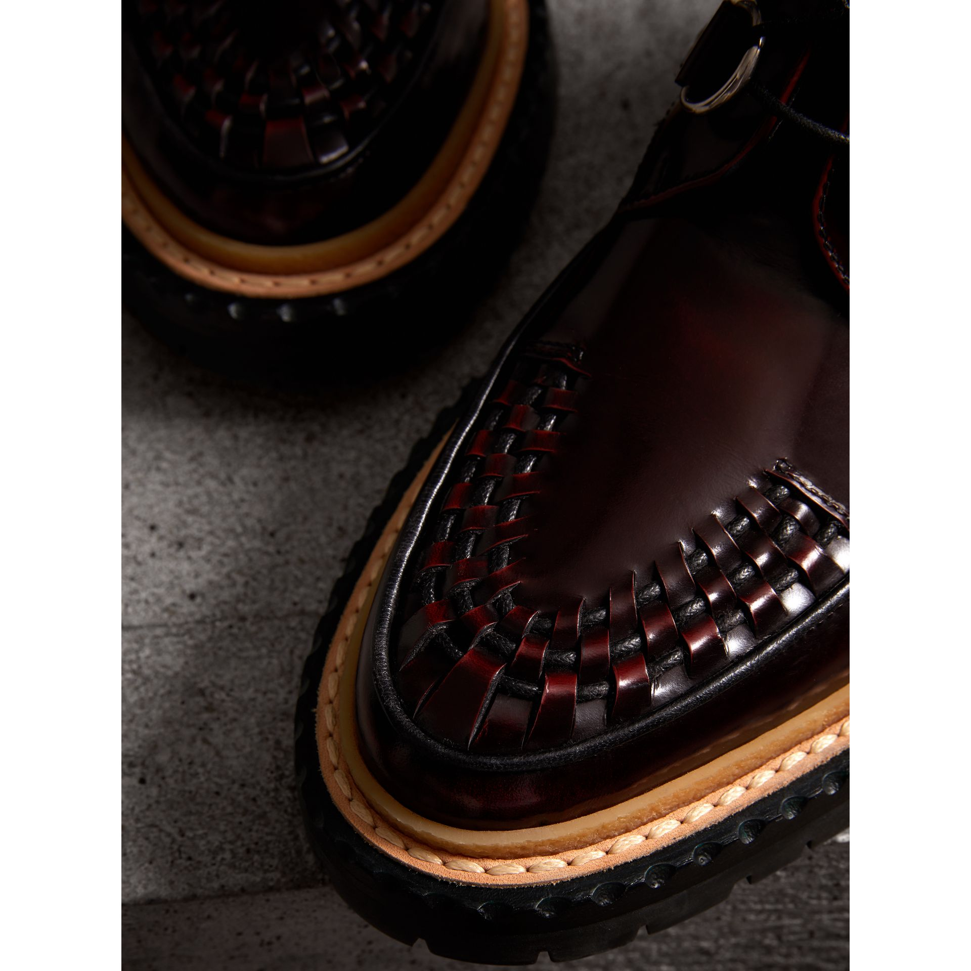 Woven-toe Polished Leather Ankle Boots in Bordeaux - Women | Burberry Singapore - gallery image 1