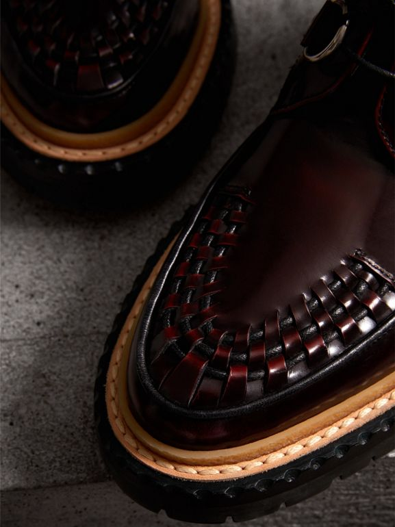 Woven-toe Polished Leather Ankle Boots in Bordeaux - Women | Burberry - cell image 1