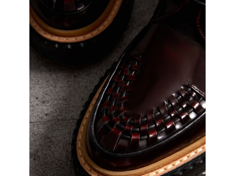 Woven-toe Polished Leather Ankle Boots in Bordeaux - Women | Burberry Singapore - cell image 1