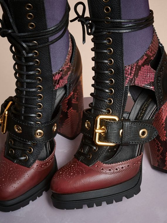 Leather and Snakeskin Cut-out Platform Boots Garnet Pink - cell image 2