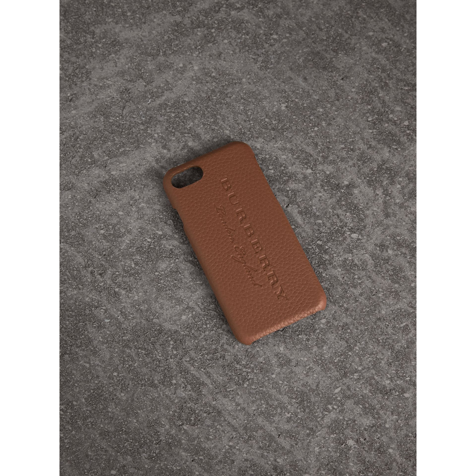 London Leather iPhone 7 Case in Chestnut Brown - Women | Burberry - gallery image 1