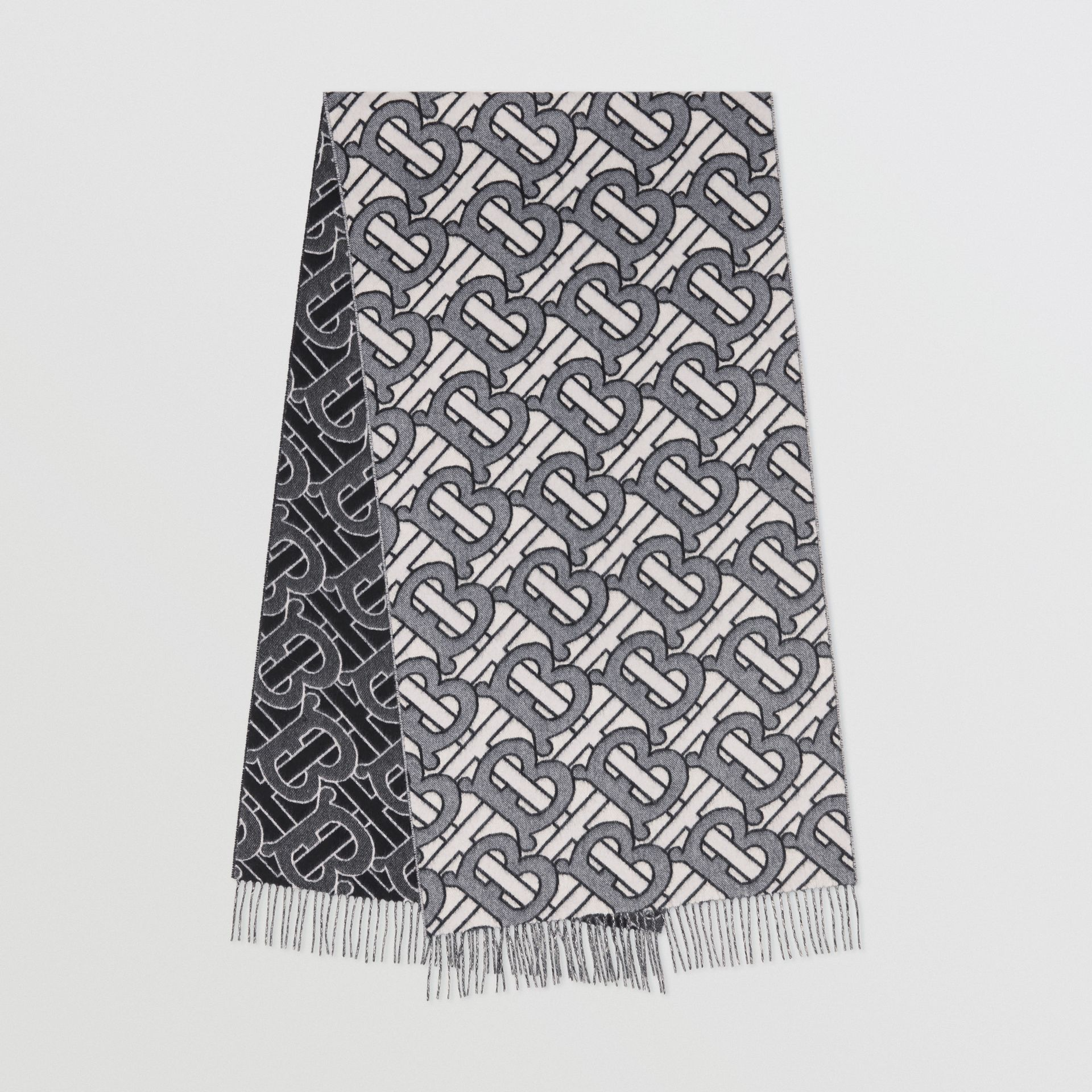 1c52925bbb Monogram Cashmere Jacquard Scarf in Light Blue | Burberry