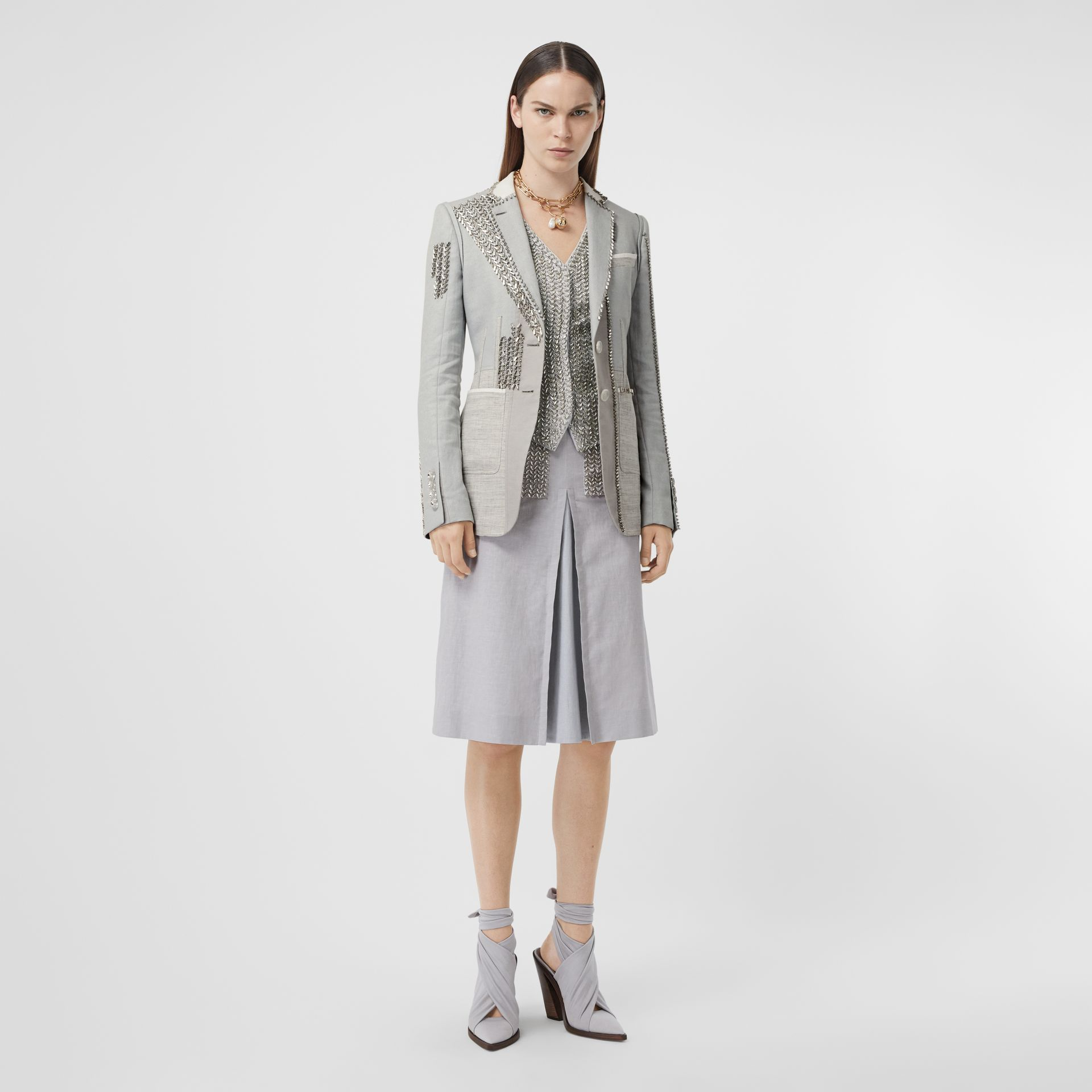 Crystal Embroidered Technical Linen Blazer in Grey Melange - Women | Burberry - gallery image 0