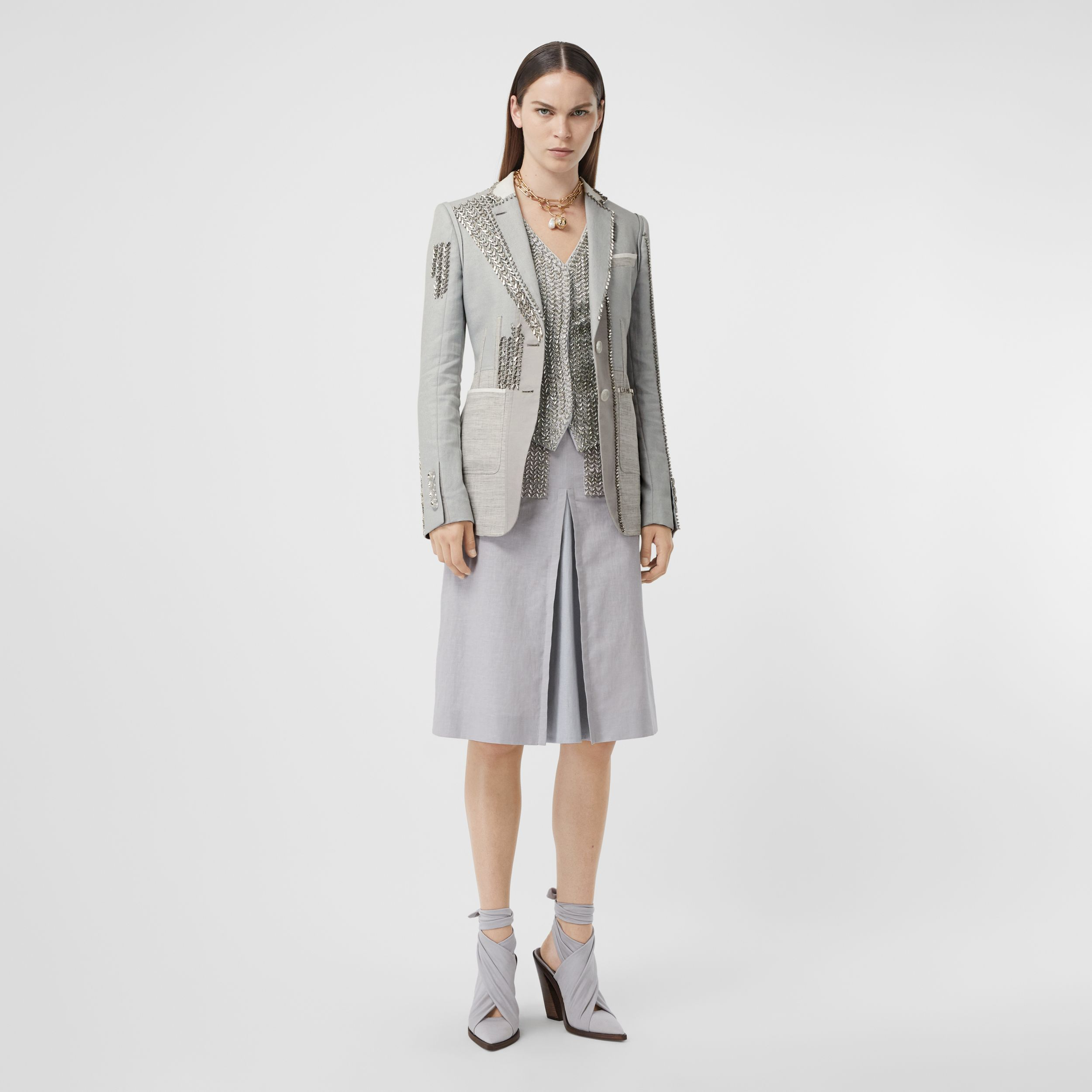 Crystal Embroidered Technical Linen Blazer in Grey Melange - Women | Burberry - 1