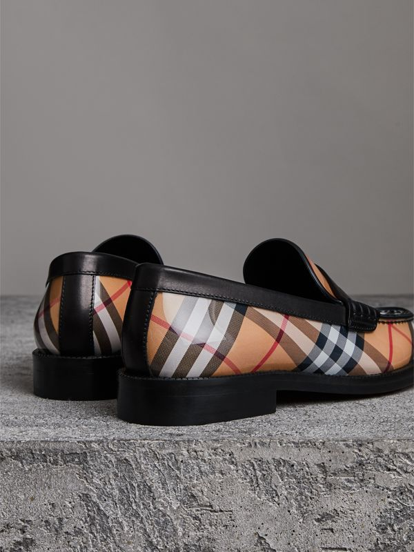 Vintage Check and Leather Penny Loafers in Antique Yellow - Women | Burberry - cell image 3