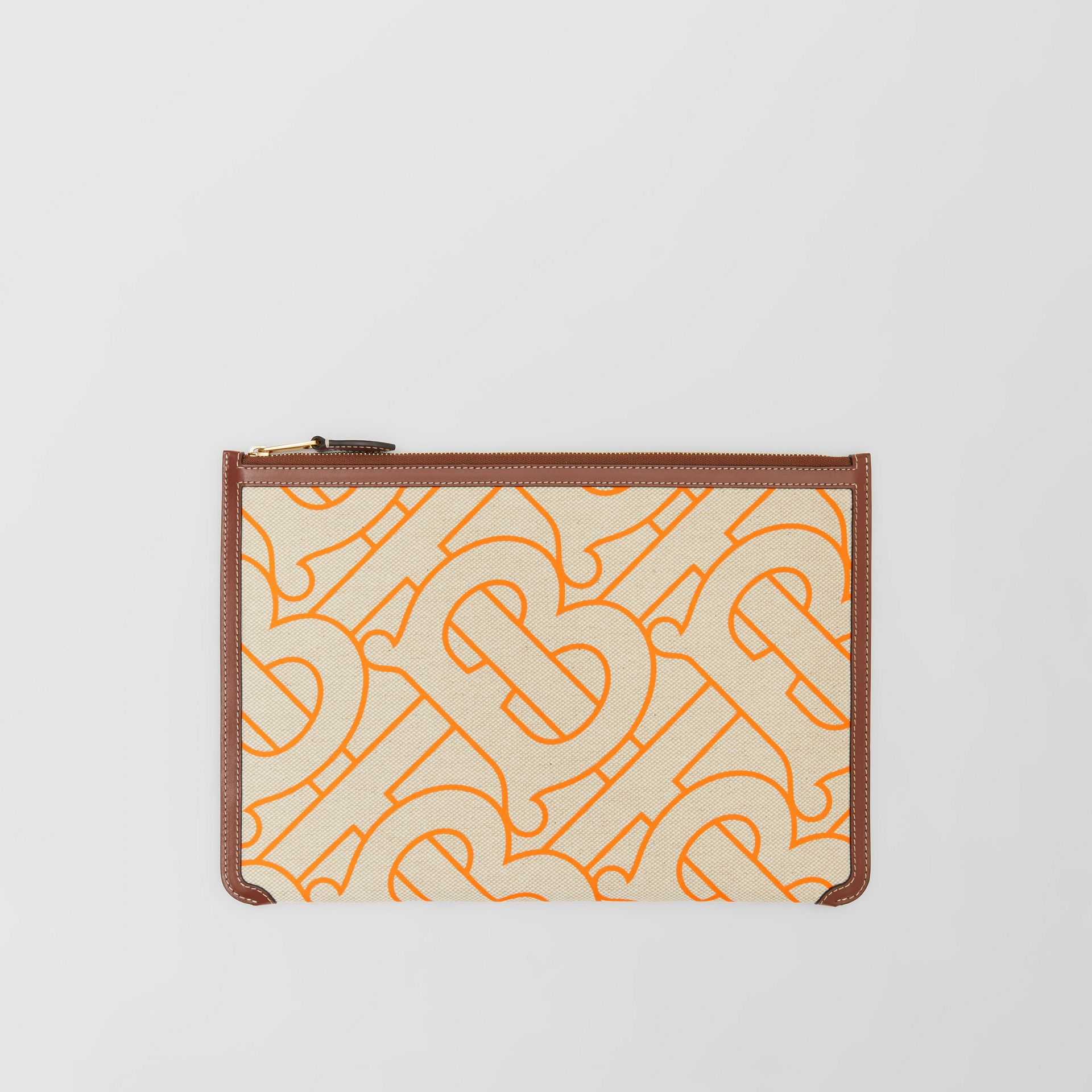 Monogram Motif Canvas and Leather Pouch in Natural/orange - Women | Burberry United Kingdom - gallery image 0