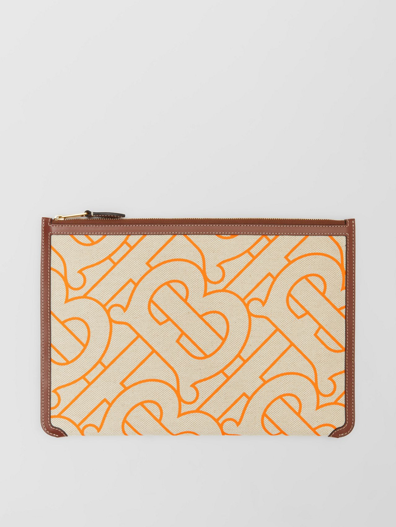 Monogram Motif Canvas and Leather Pouch in Natural/orange