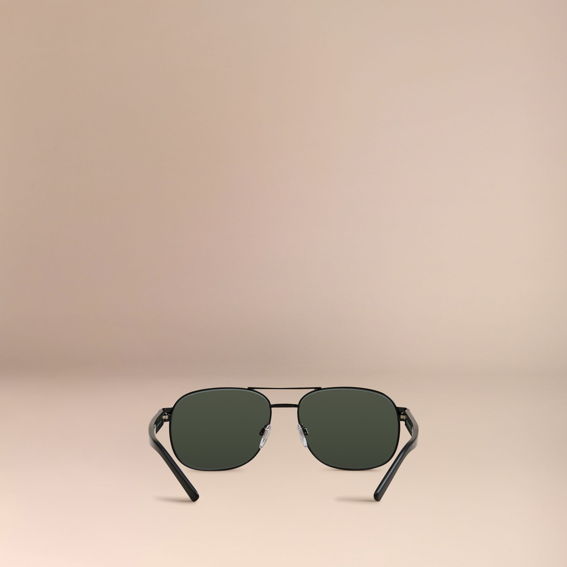 Nero lucido Occhiali da sole stile aviatore con montatura quadrata Nero Lucido - immagine della galleria 4
