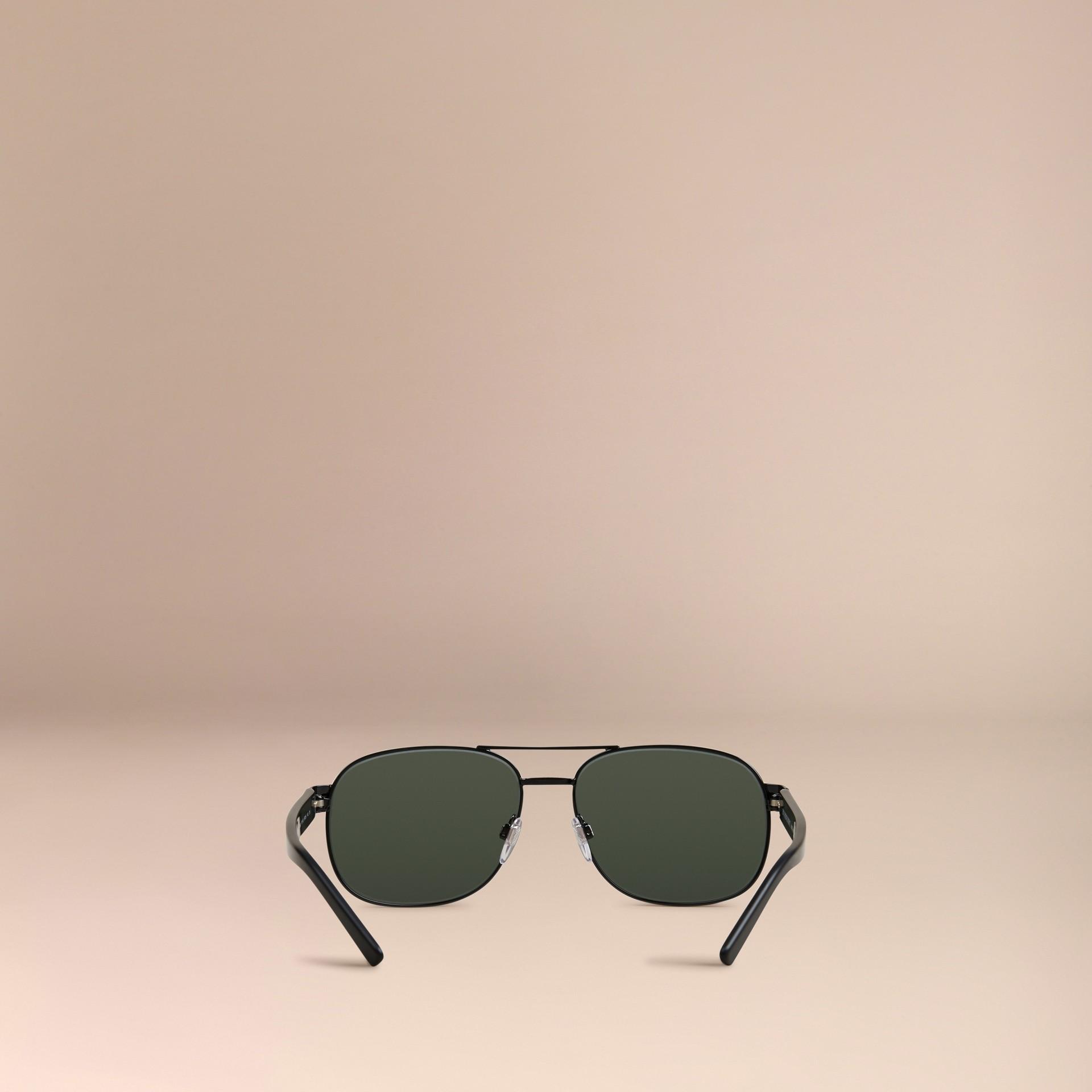 Shiny black Square Frame Aviator Sunglasses Shiny Black - gallery image 4