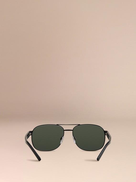 Shiny black Square Frame Aviator Sunglasses Shiny Black - cell image 3