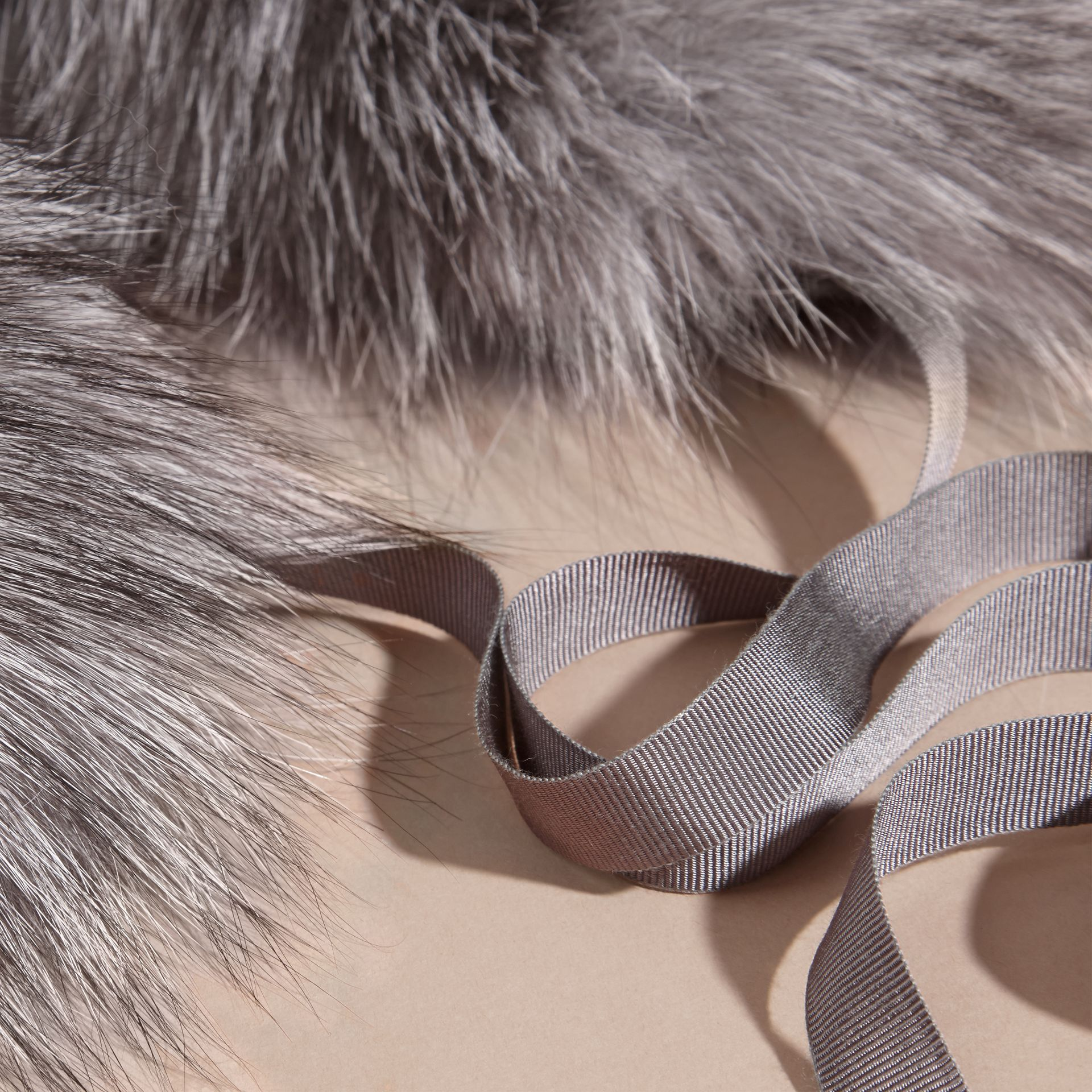 Fox Fur Collar with Check Cashmere Lining Mid Grey - gallery image 4
