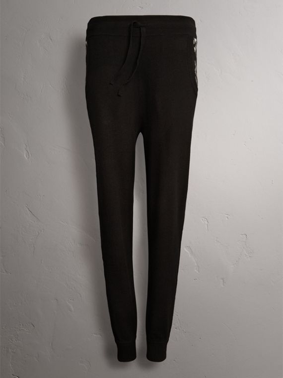 Check Detail Wool Cashmere Sweatpants in Black - Women | Burberry - cell image 3
