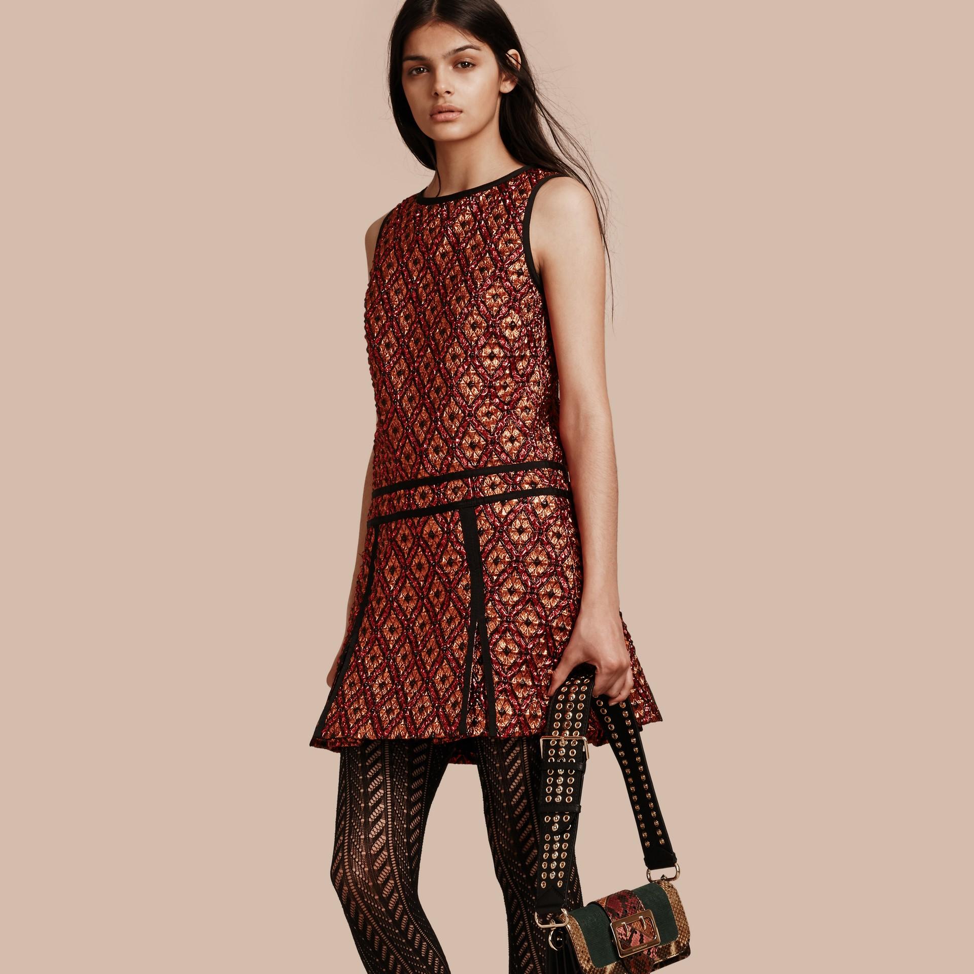 Cinnamon red Diamond Jacquard Sleeveless Dress - gallery image 1