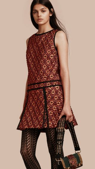 Diamond Jacquard Sleeveless Dress