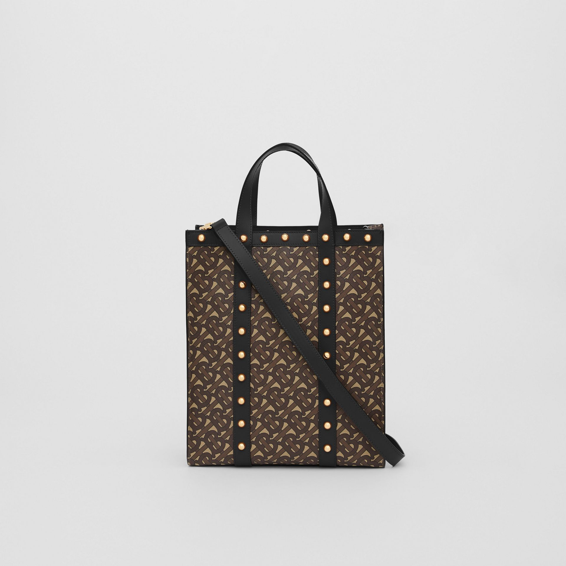 Small Monogram Print E-canvas Portrait Tote Bag in Black - Women | Burberry - gallery image 7