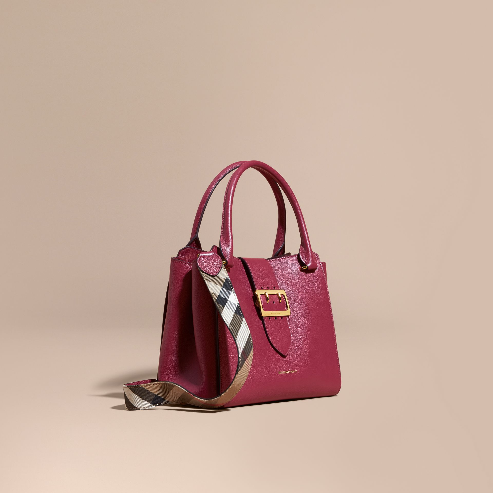 The Medium Buckle Tote in Grainy Leather Dark Plum - gallery image 1
