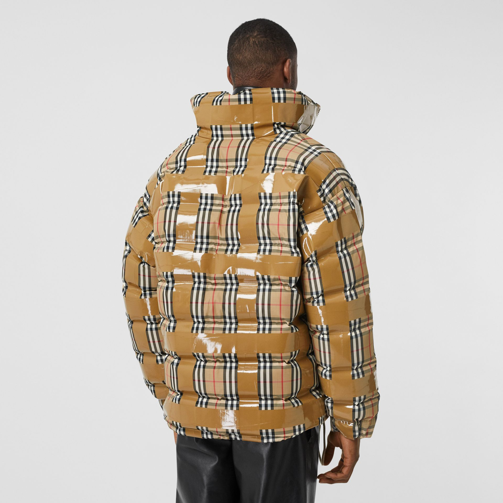Tape Detail Vintage Check Puffer Jacket in Archive Beige - Men | Burberry Singapore - gallery image 2