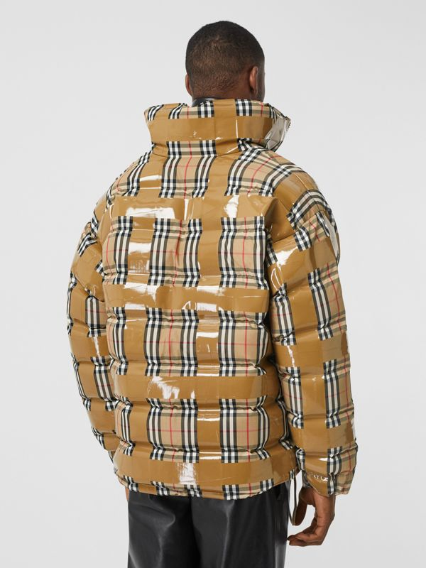 Tape Detail Vintage Check Puffer Jacket in Archive Beige - Men | Burberry Singapore - cell image 2