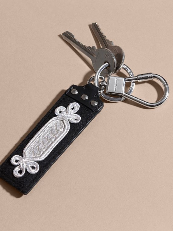 Embroidered Leather Key Ring - cell image 2