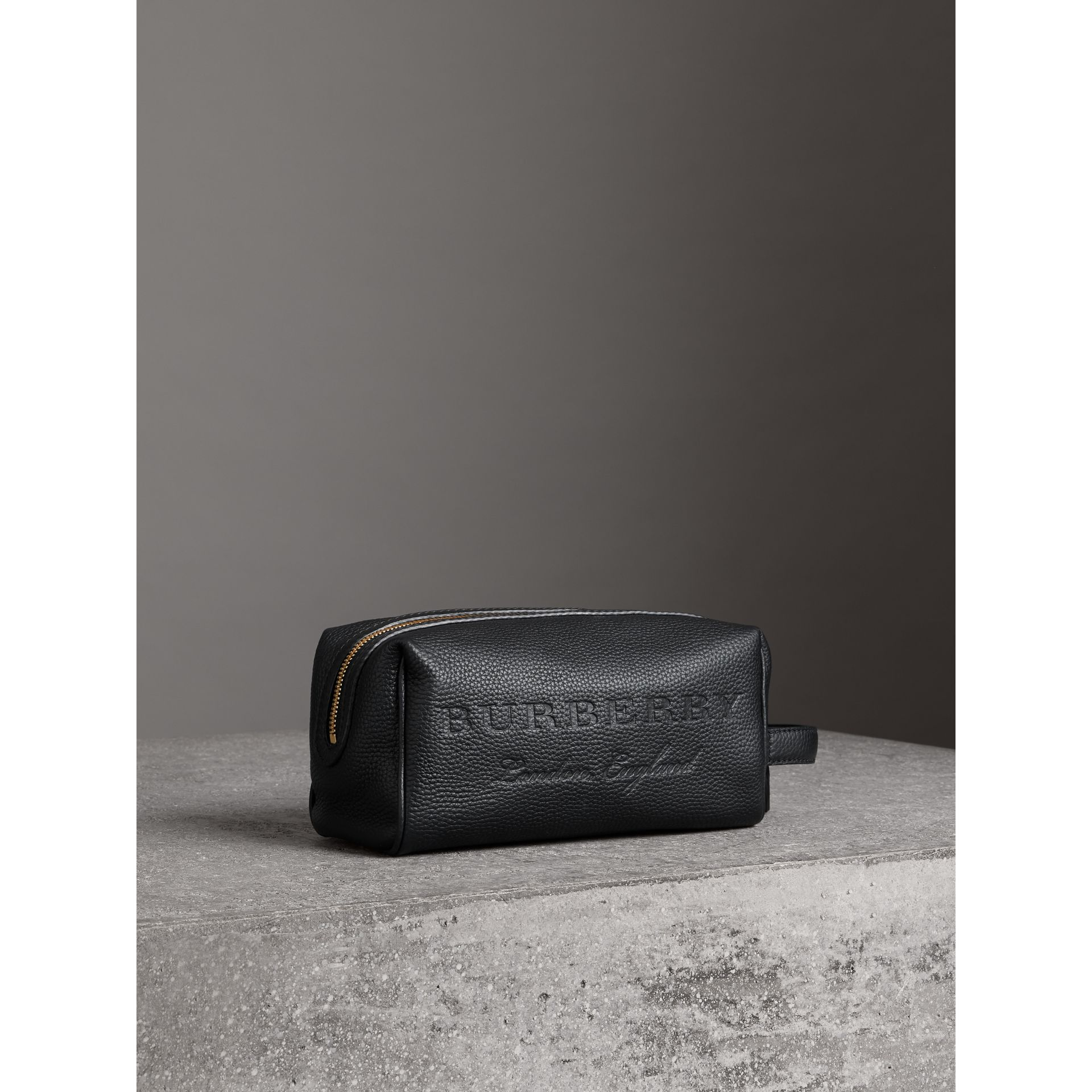 Embossed Grainy Leather Pouch in Black | Burberry - gallery image 4