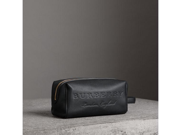 Embossed Grainy Leather Pouch in Black | Burberry - cell image 4