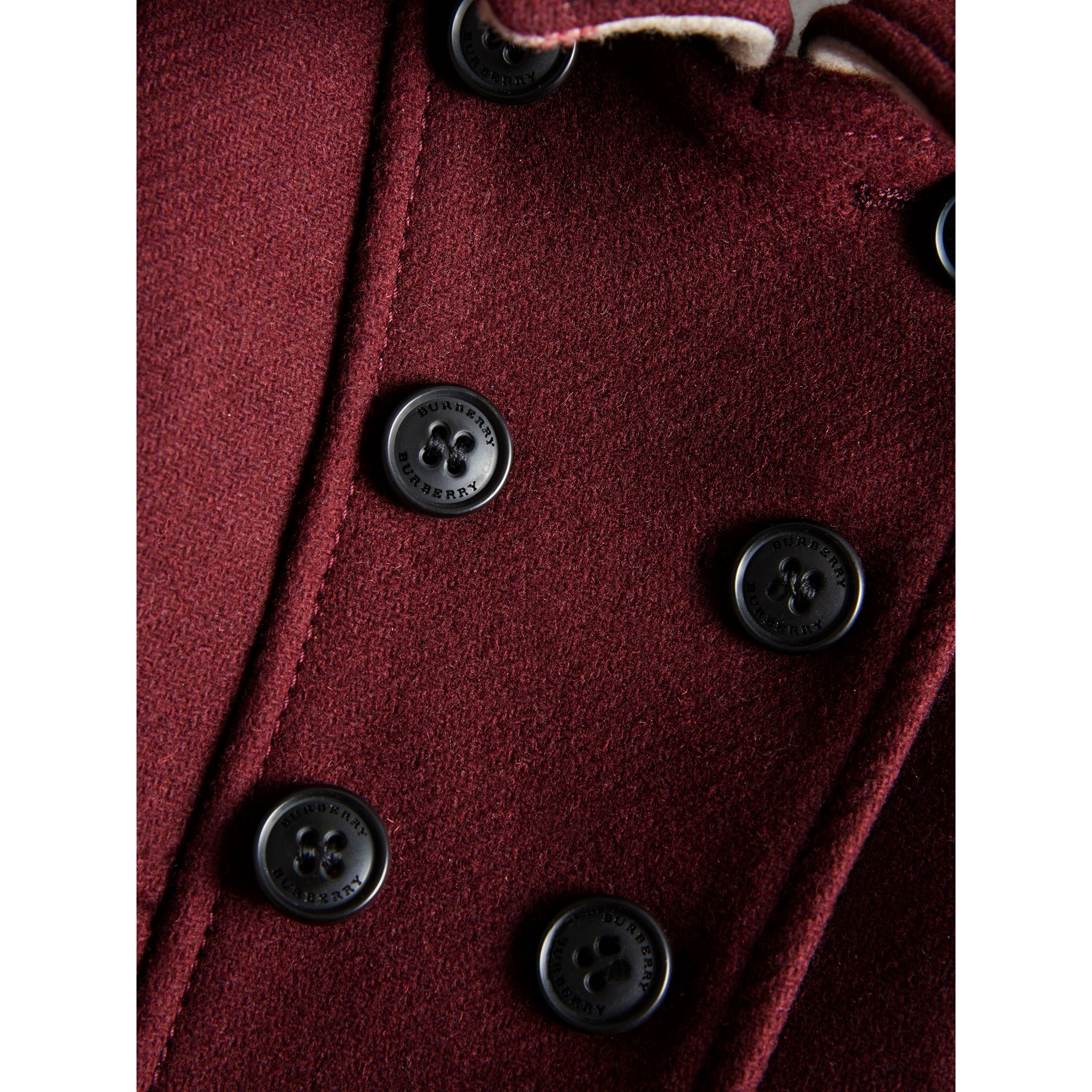 Wool Cashmere Blend Twill Tailored Coat in Garnet | Burberry - gallery image 1