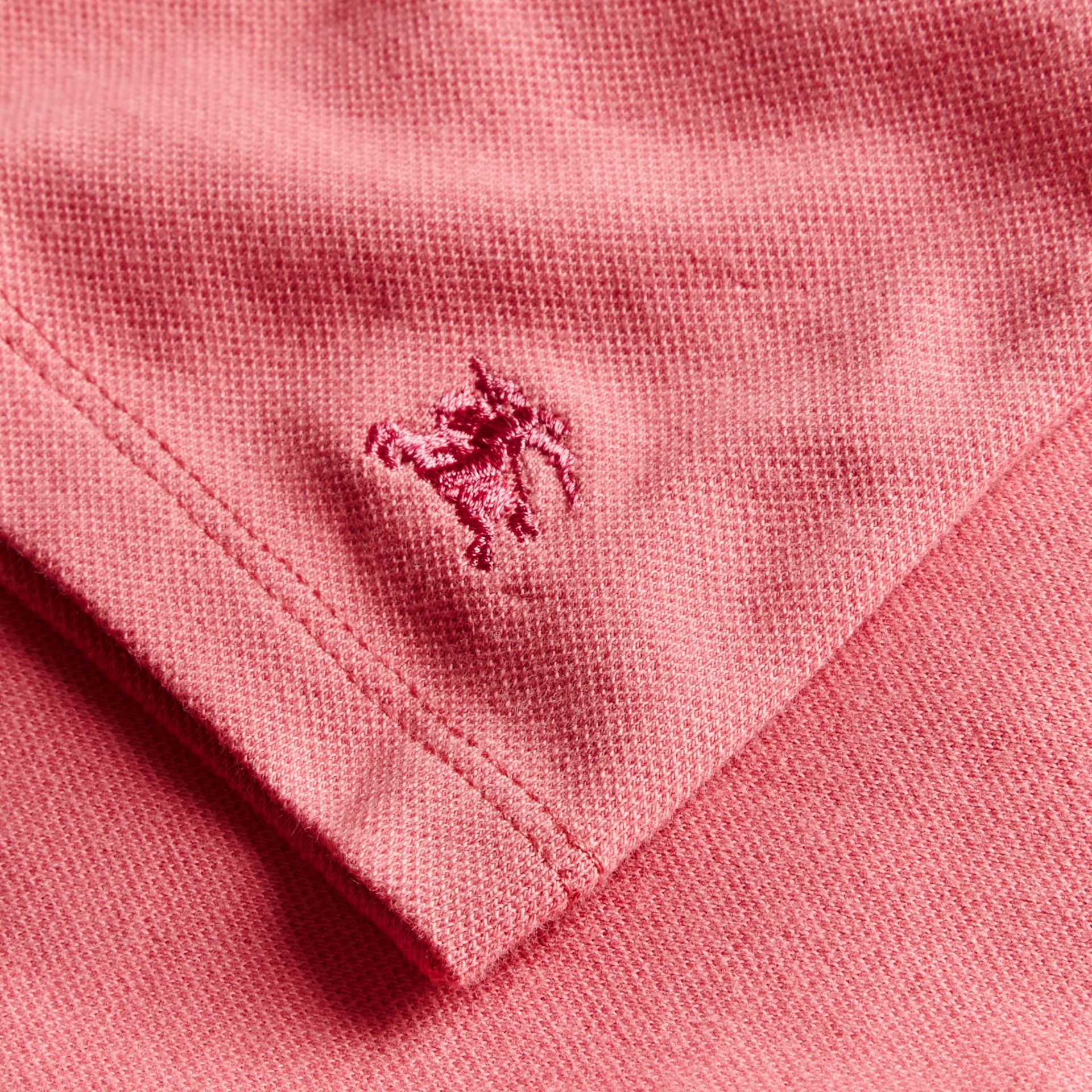 Ruched Detail Stretch Cotton Polo Shirt Pink Azalea - gallery image 2