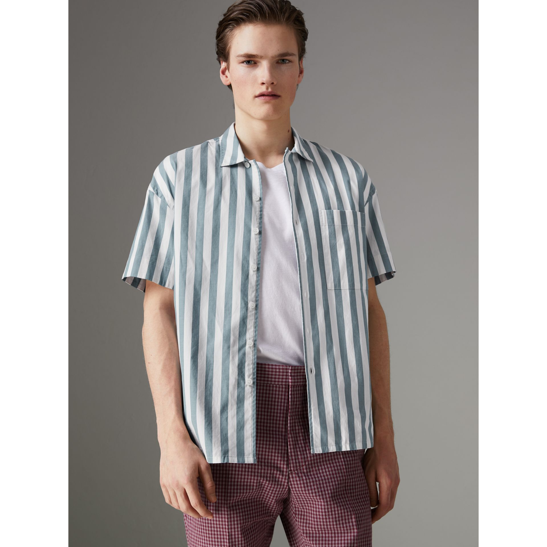 Short-sleeved Striped Cotton Shirt in Pale Opal - Men | Burberry - gallery image 4