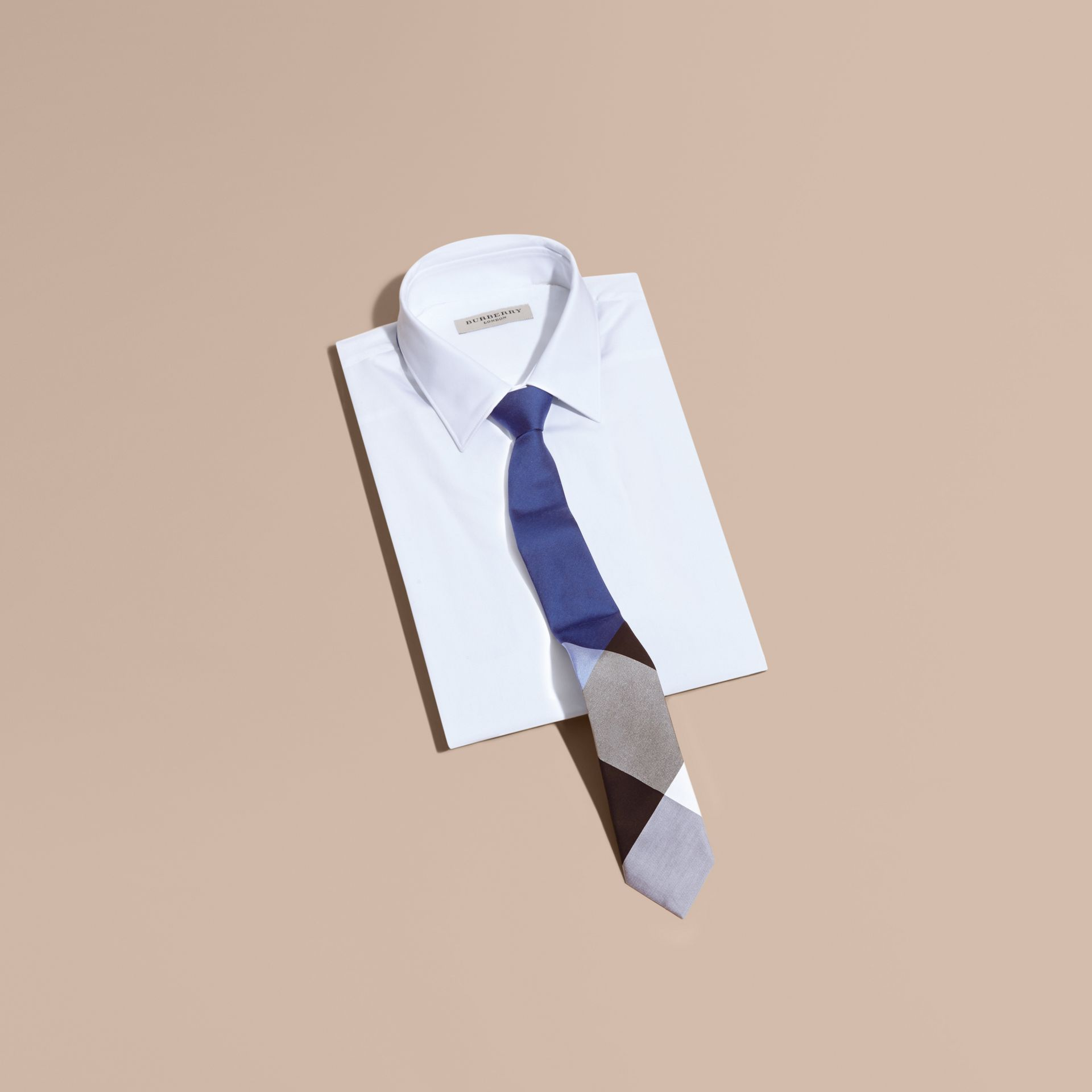 Chalk blue Slim Cut Check Silk Cotton Tie Chalk Blue - gallery image 3