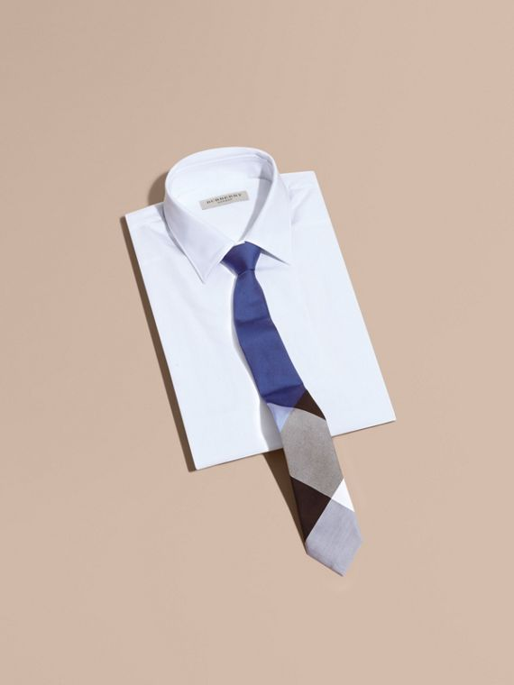 Slim Cut Check Silk Cotton Tie in Chalk Blue - Men | Burberry - cell image 3