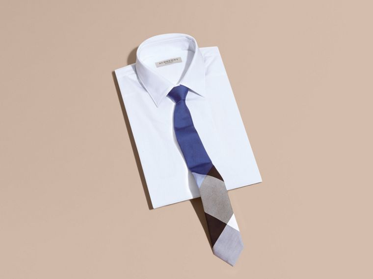 Chalk blue Slim Cut Check Silk Cotton Tie Chalk Blue - cell image 2