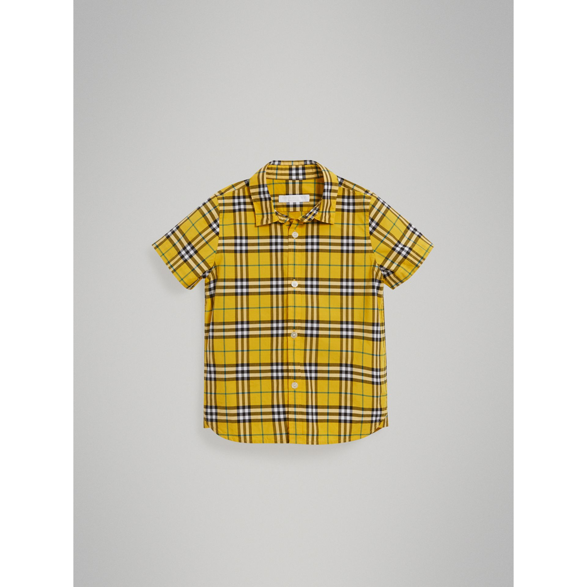 Short-sleeve Check Cotton Shirt in Bright Yellow - Boy | Burberry - gallery image 2