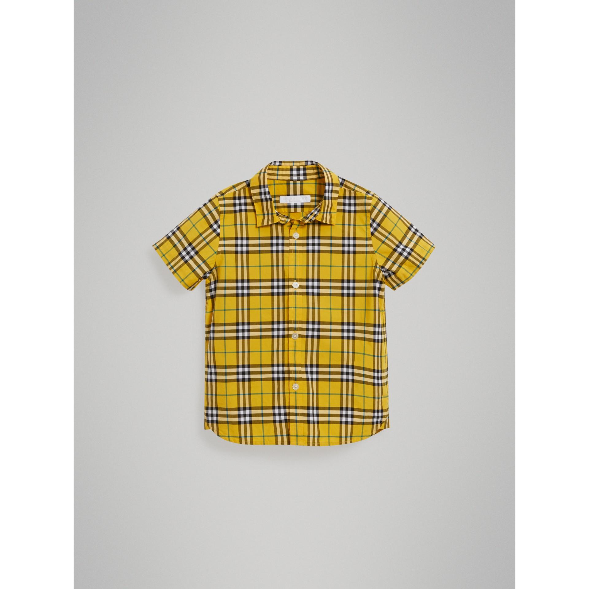 Chemise en coton à manches courtes avec motif check (Jaune Vif) - Garçon | Burberry - photo de la galerie 2