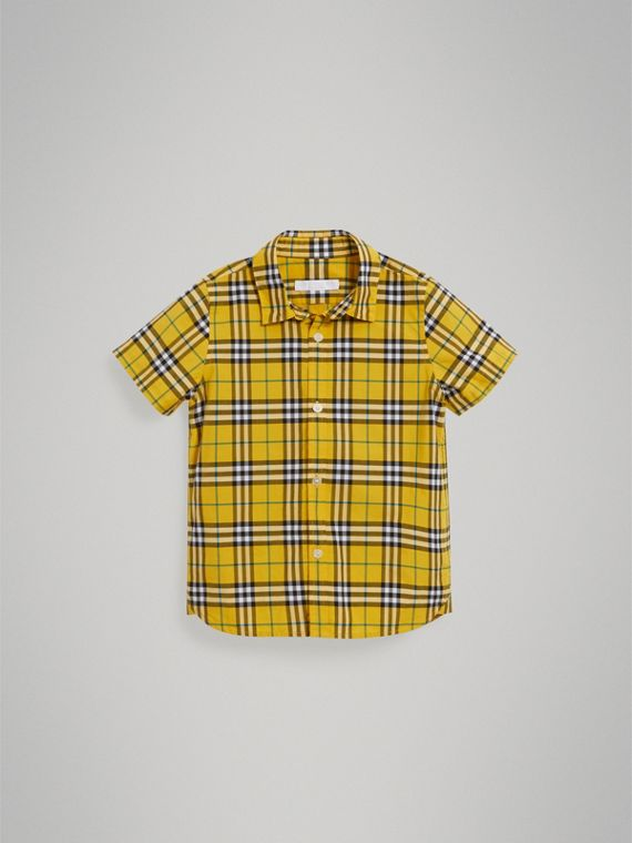 Chemise en coton à manches courtes avec motif check (Jaune Vif) - Garçon | Burberry - cell image 2
