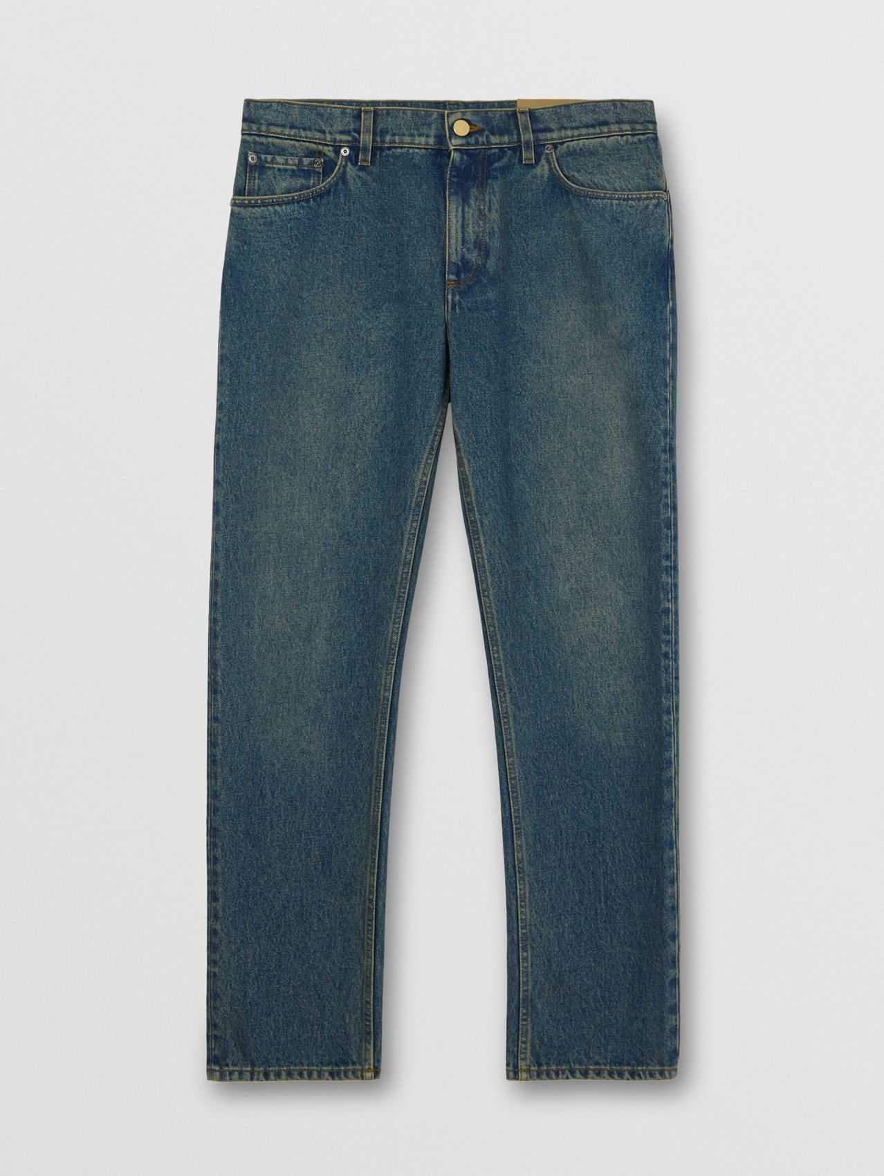 Straight Fit Washed Jeans (Indigo)