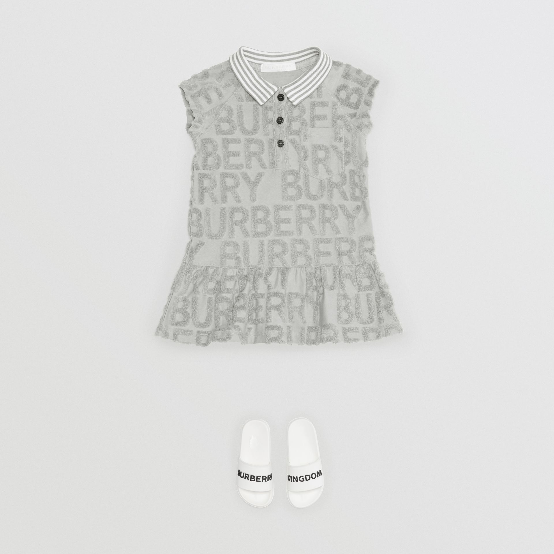 Logo Towelling Polo Dress in Pale Grey - Children | Burberry - gallery image 2
