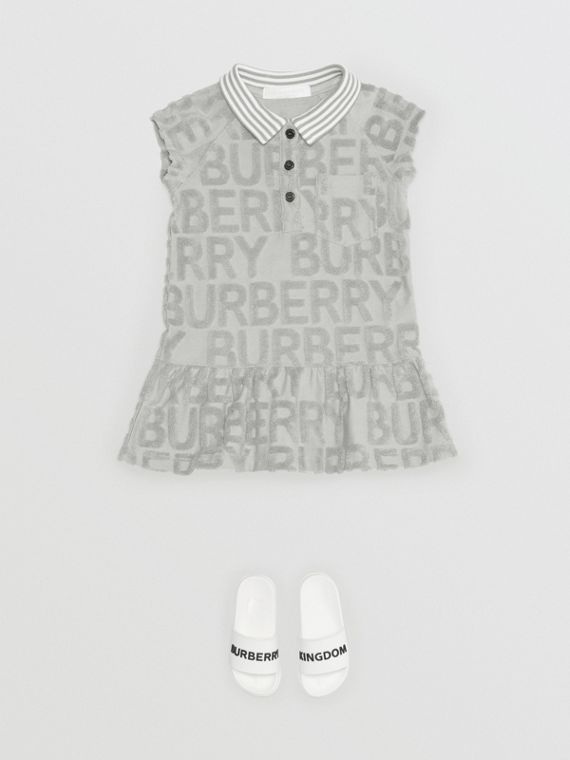 Logo Towelling Polo Dress in Pale Grey