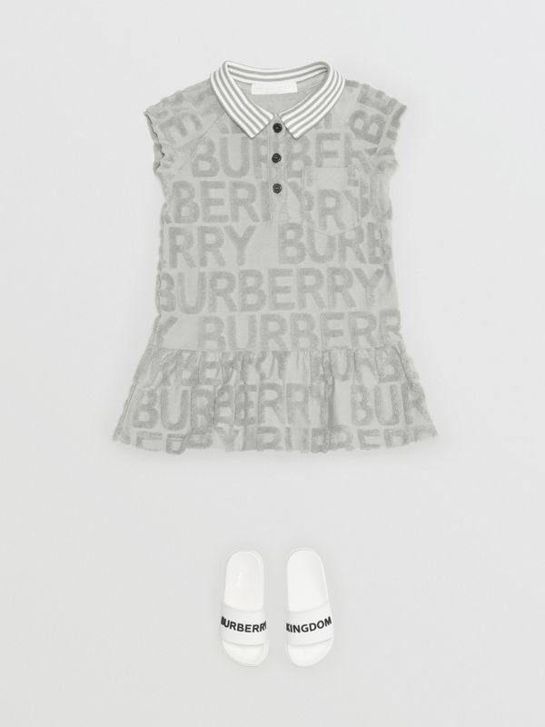 Logo Towelling Polo Dress in Pale Grey - Children | Burberry - cell image 2