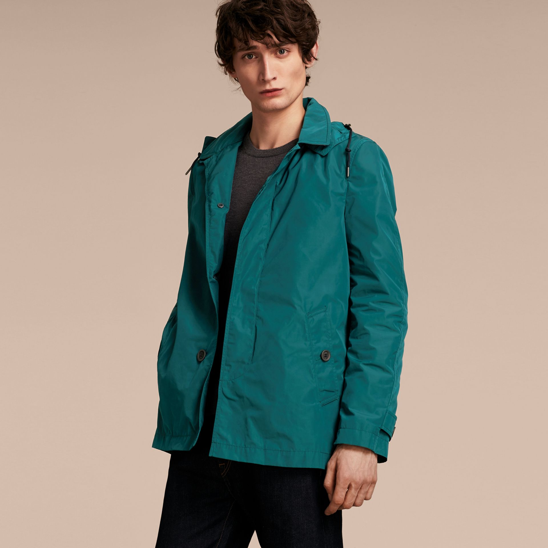 Showerproof Hooded Coat with Removable Warmer Bright Teal - gallery image 6