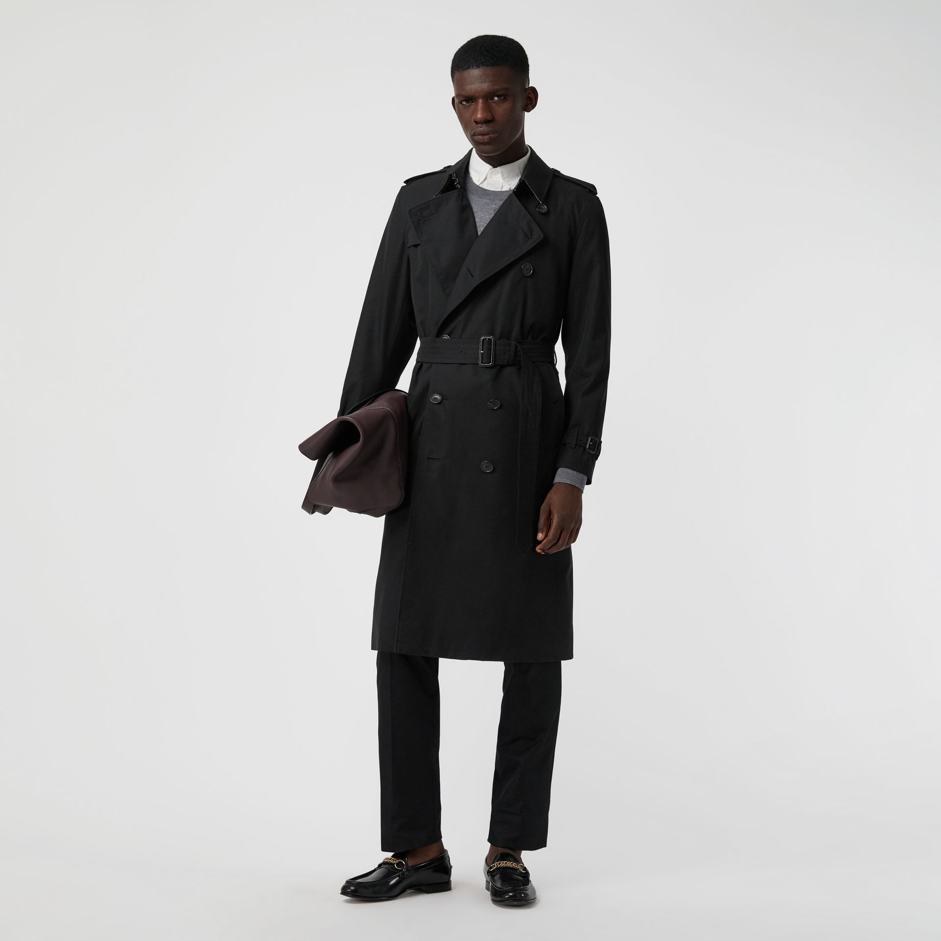 The Long Kensington Heritage Trench Coat in Black - Men | Burberry Singapore - gallery image 7