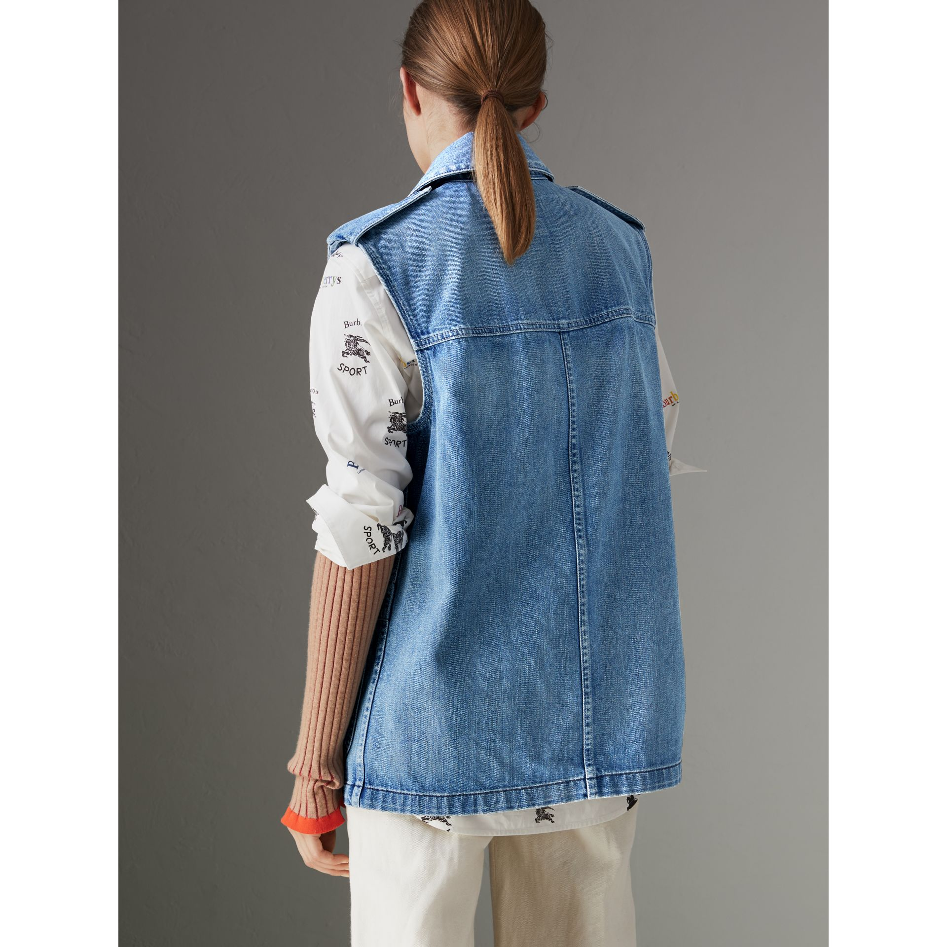 Sleeveless Japanese Denim Jacket in Steel Blue - Women | Burberry United Kingdom - gallery image 2