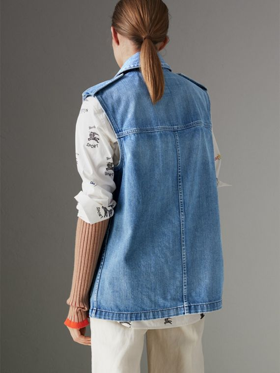 Sleeveless Japanese Denim Jacket in Steel Blue - Women | Burberry United Kingdom - cell image 2