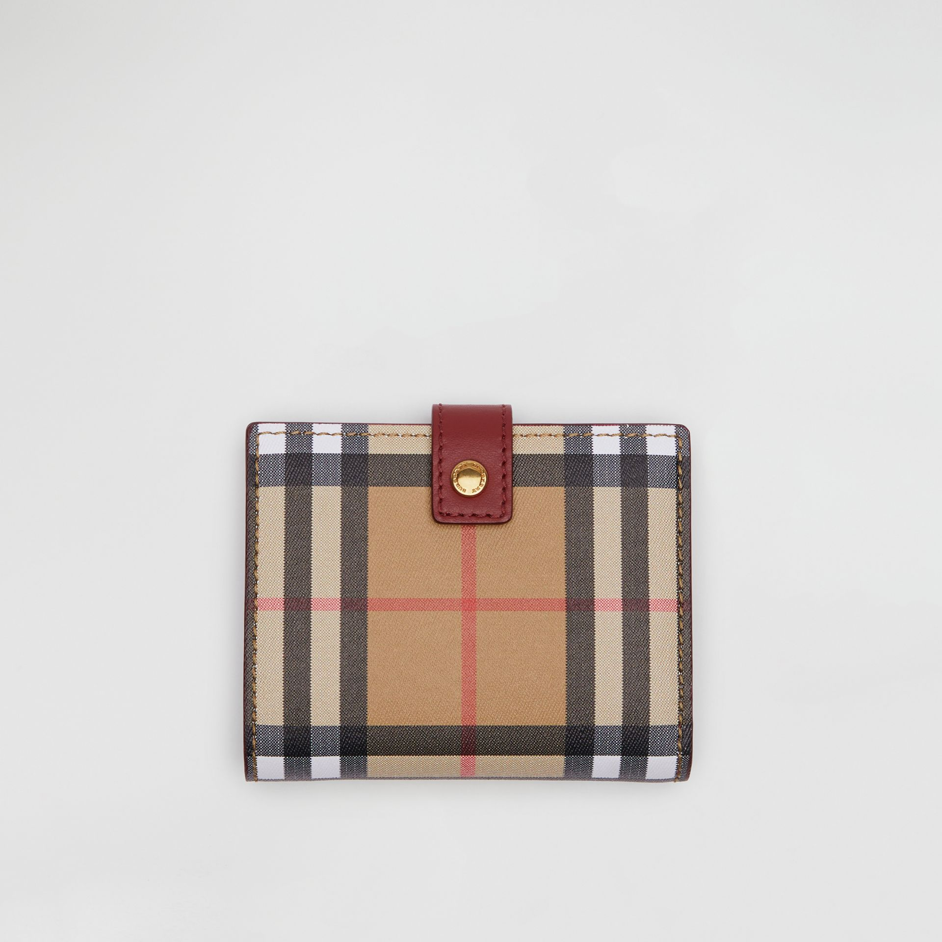 Vintage Check and Leather Folding Wallet in Crimson - Women | Burberry United States - gallery image 0