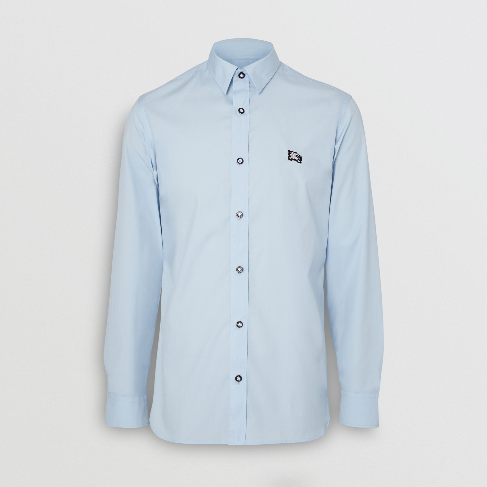 Contrast Button Stretch Cotton Shirt in Pale Blue - Men | Burberry United Kingdom - gallery image 2