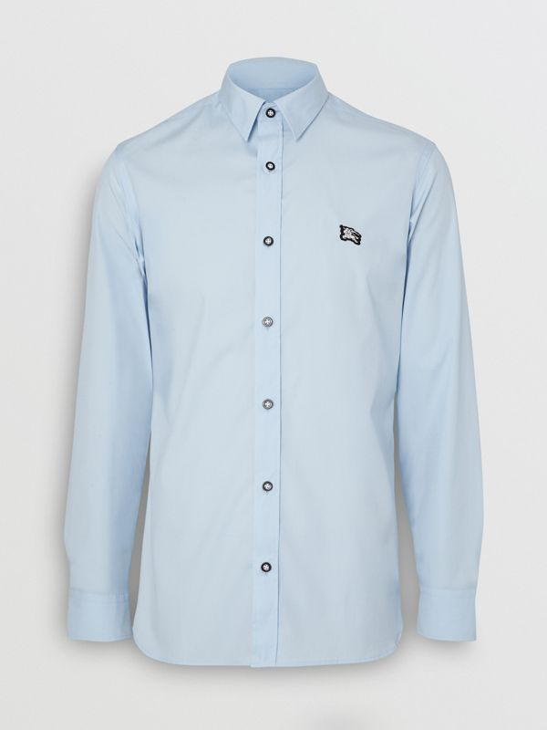 Contrast Button Stretch Cotton Shirt in Pale Blue - Men | Burberry United Kingdom - cell image 2