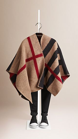 Check Wool Cashmere Blanket Poncho